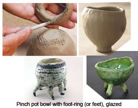 Pinch pot bowl with foot-ring